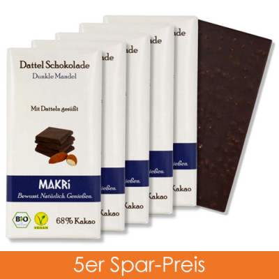 Makri Schokolade - Dunkle Mandel 5er
