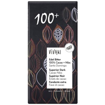 Vivani Edel Bitter 100% Cacao + Nibs 80g