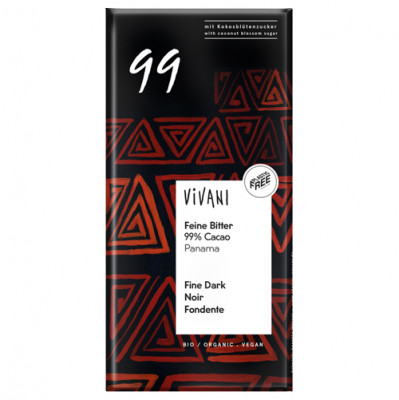 Vivani Feine Bitter Schokolade 99 % Cacao 80g
